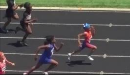 6-year old first year AAU Sprinter - Jhalia Peoples winning 100m against 8 year olds