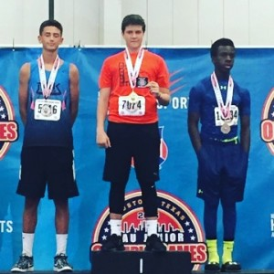 Zachary Godbold winning the Gold Medal in 14 year old Javelin at Jr Olympics in Houston.