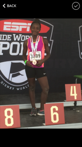 Genesis Johnson attended the AAU ESPN World Wide Sports 2016 Championship. She received a metal in the 10 year old girls long jump.